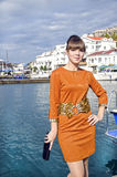 Portrait of young woman outdoors. In Crimea near seafront Royalty Free Stock Image
