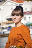 Portrait of young woman outdoors. In Crimea near seafront Stock Photography