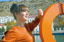 Portrait of young woman outdoors. In Crimea near seafront Stock Images