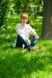 Portrait Of Young Woman In Park. Stock Image