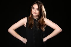 Portrait of young woman party clothes studs collar Stock Photos