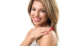 Portrait of young woman with perfect white teeth royalty free stock images