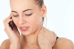 Portrait of young woman on phone call Royalty Free Stock Photos