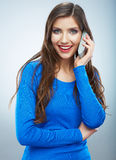 portrait of young woman phone call. Isolated beautiful Royalty Free Stock Photography