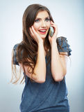 portrait of young woman phone call. Isolated beautiful Stock Photography