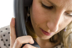 Portrait of a young woman on a phone Stock Image