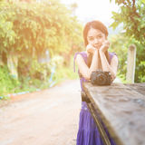 Portrait of young woman photographer Royalty Free Stock Photography