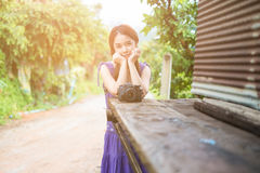 Portrait of young woman photographer Stock Images