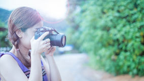 Portrait of young woman photographer Royalty Free Stock Photo