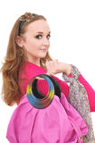 Portrait of young woman with pink bag Royalty Free Stock Image