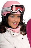 Portrait of young woman with pink helmet Royalty Free Stock Photo