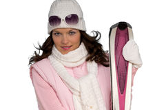 Portrait of young woman with pink ski Royalty Free Stock Photo