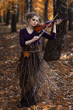 Portrait of young woman playing violin in the fall park Royalty Free Stock Image