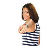 Portrait of young woman pointing with one finger Stock Photos
