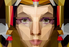 Portrait of a young woman in polygon illustration Royalty Free Stock Photo