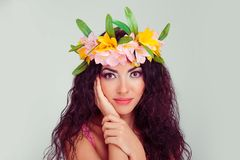 Woman, posing, both her hands are touching her face delicately stock photos