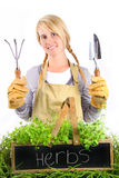 Portrait of young woman with potted herbs Royalty Free Stock Photography