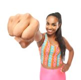 Portrait of a young woman with a powerful punch Stock Photography