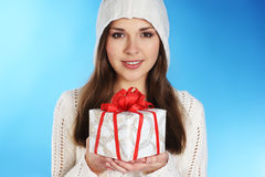 Portrait of a young woman with a present Stock Image