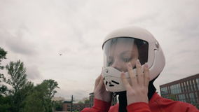 Portrait young woman in protective helmet for extreme sport slow motion stock footage