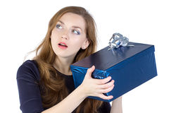 Portrait of young woman received the gift Royalty Free Stock Images