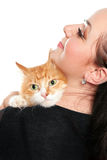 Portrait of young woman with a red cat. Isolated Stock Images