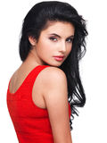 Portrait  of  young woman in red dress Royalty Free Stock Image