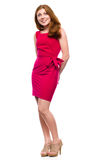 Portrait of a young woman in red dress Royalty Free Stock Image
