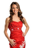 Portrait of Young Woman in Red Gown Royalty Free Stock Photography