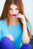Portrait of a young woman with red hair Royalty Free Stock Photo