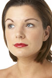Portrait Of Young Woman With Red Lipstick Stock Image