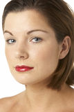 Portrait Of Young Woman With Red Lipstick Stock Photos