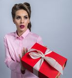 Woman refusing gift stock photography