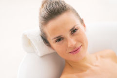 Portrait of young woman relaxing in bathtub Royalty Free Stock Photo