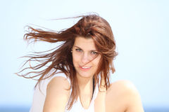 Portrait young woman resting at beach in summer Stock Photography