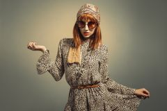 Sixties Retro Hippy Chick Royalty Free Stock Images