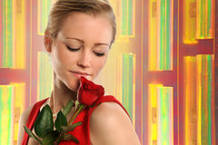 Portrait of Young Woman With Rose Stock Photo