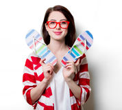 Portrait of the young woman with sandals Royalty Free Stock Photos