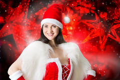 Portrait of young  woman in Santa costume Royalty Free Stock Photos