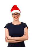 Portrait of young woman in santa hat Stock Image