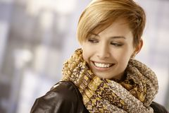Portrait of young woman with scarf Royalty Free Stock Image