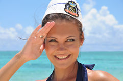 Portrait of the young woman in sea pinup hat Stock Images