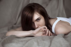 Portrait of young woman, selective soft focus Royalty Free Stock Photography
