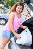 Portrait of young woman shopper after mall Royalty Free Stock Photo
