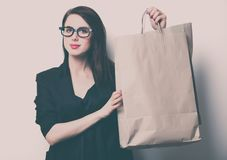 Portrait of the young woman with shopping bags Royalty Free Stock Photos