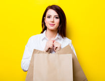 Portrait of young woman with shopping bags Stock Photography