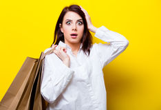 Portrait of young woman with shopping bags Royalty Free Stock Photo
