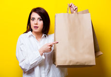 Portrait of young woman with shopping bags Royalty Free Stock Photography
