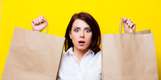 Portrait of young woman with shopping bags Stock Image