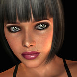 Portrait young woman with short black hair. 3D rendering young woman with short black hair portrait Stock Photo